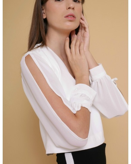 Mercy V-Neck Blouse in White