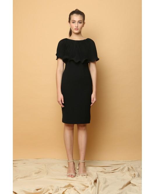 Lotus Cape Dress in Black