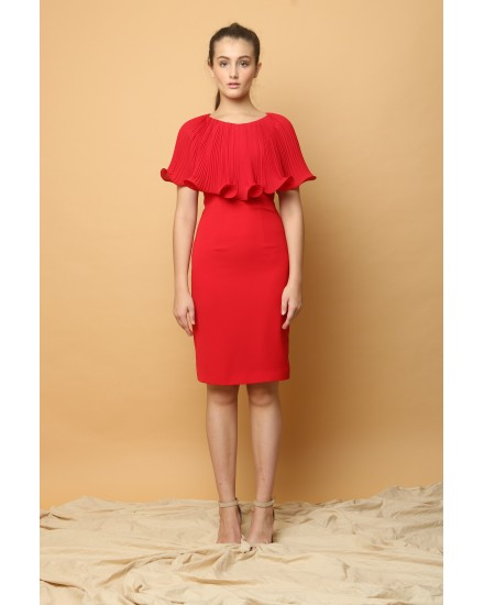 Lotus Cape Dress in Red