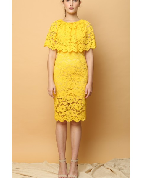 Lotus Lace Dress in Yellow