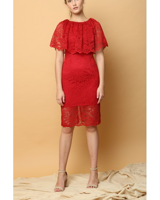 Lotus Lace Dress in Red