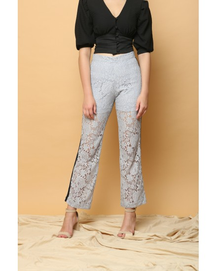 Cava Lace Pants in Ice Grey