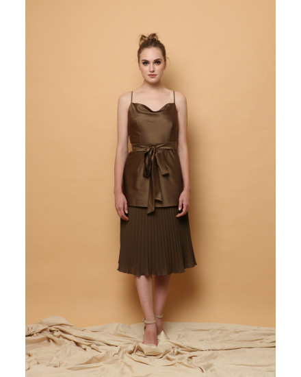 Gilda Cowl Top and Pleated Skirt in Army (SET)