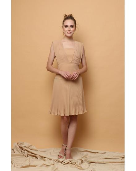 Issa Pleated Dress in Beige