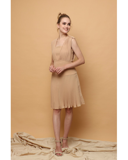 Issa Pleated Dress in Beige