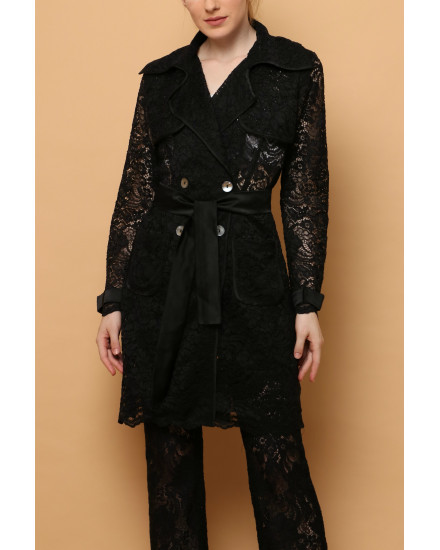 Cava Lace Trench in Black