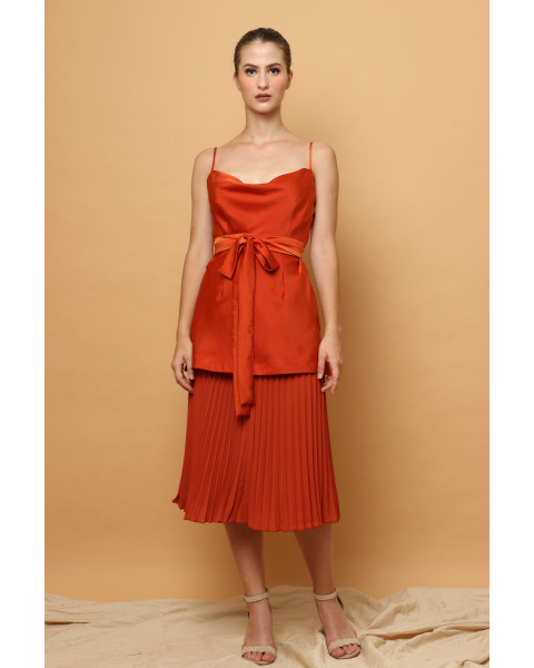 (SET) Gilda Cowl Top & Pleated Skirt in Terracotta