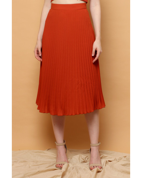 Gilda Pleated Skirt in Terracotta