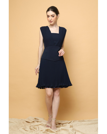 Issa Pleated Dress in Navy