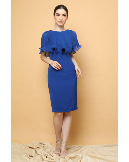 Lotus Cape Dress in Royal Blue