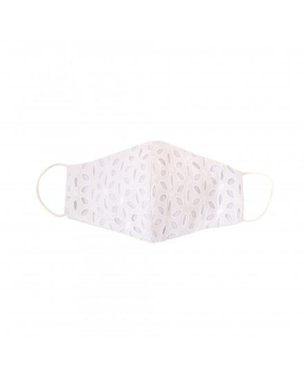 Cotton Eyelet Mask in White