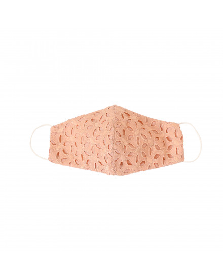 Cotton Eyelet Mask in Peach