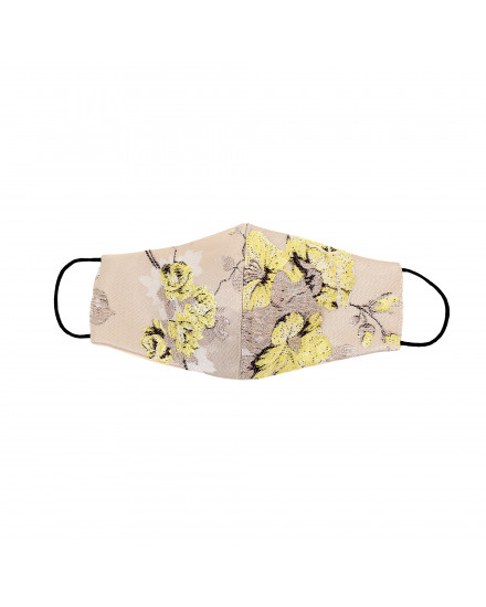 Jacquard Cotton Chinoiseries Mask in Lemon