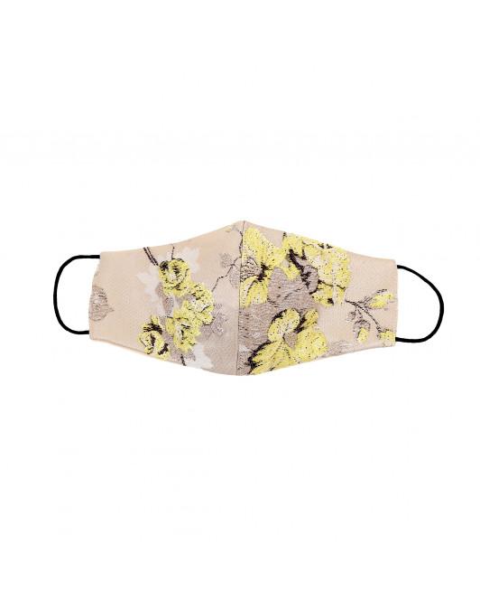 Jacquard Cotton Chinoiseries Mask in Lemon