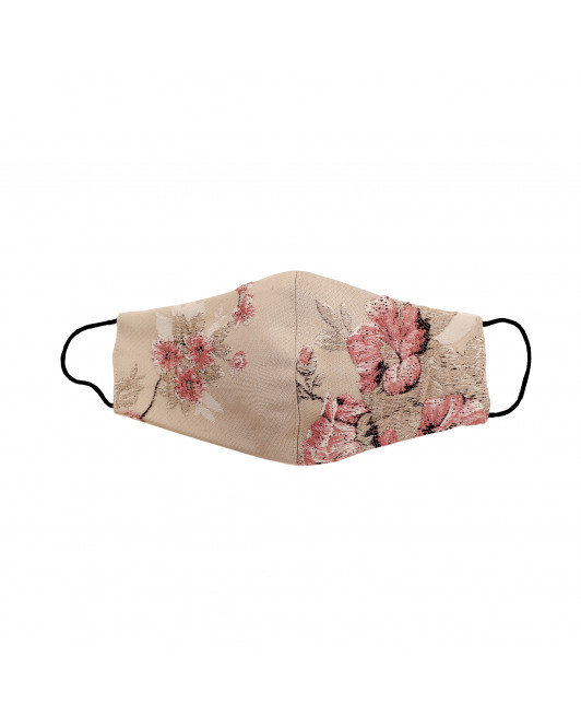 Jacquard Cotton Chinoiseries Mask in Rose