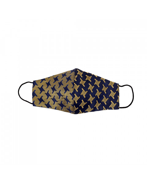 Bicolor Jacquard Cotton Mask in Diamond