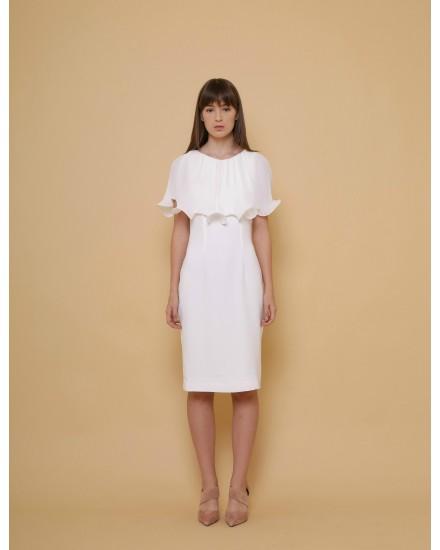 Lotus Cape Dress in White
